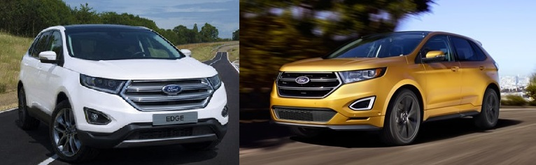 2016 Ford Edge (left) and the US version: Ford.com