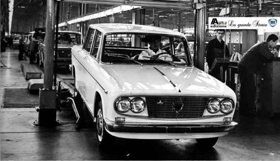 A Lancia Fulvia Berlina comes off the Chivasso production lines prior to rigorous tests before delivery. Image via autoedizone