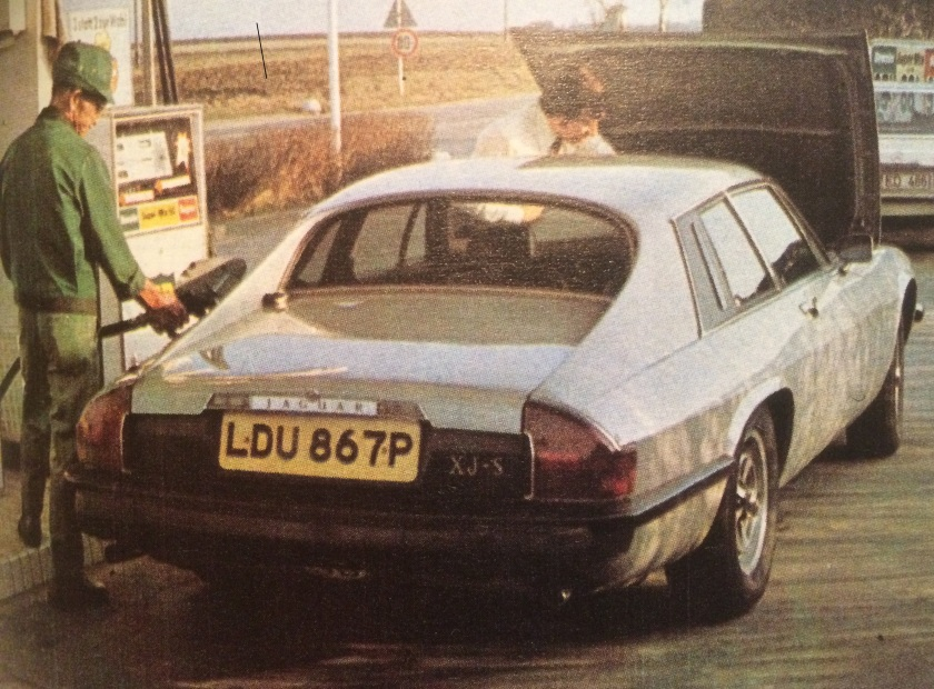 1976 Jaguar XJ-S refuelling. They must have done a lot of this on that road trip: uncredited photographer, Motor Sport April 1976.