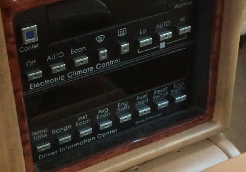 1991 Cadillac Seville STS HVAC controls.