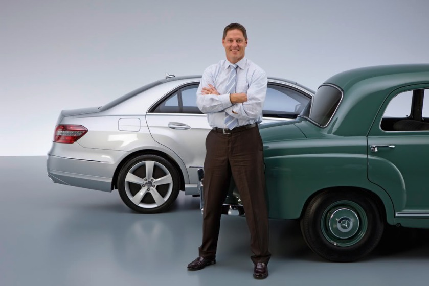 Gorden poses with W212 next to its putative inspiration. Image via germancarforum