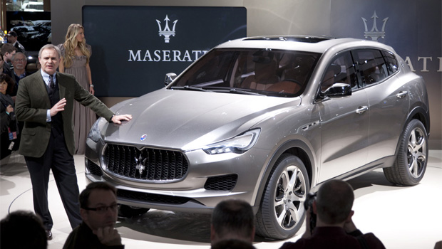 Harald Wester, dwarfed by Maserati's now delayed Levante crossover SUV. Image via omniauto