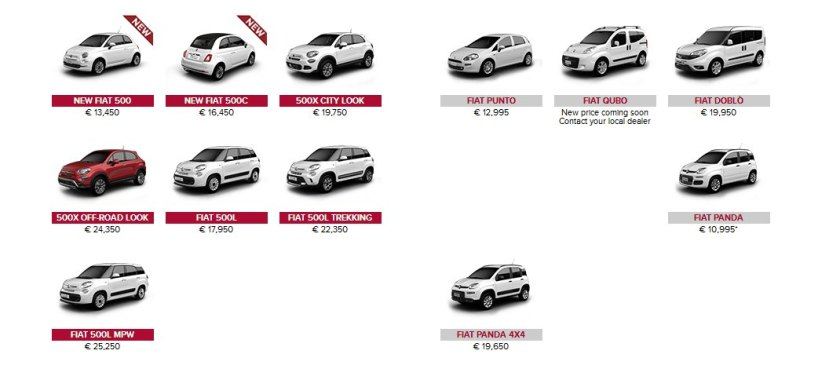 2016 Fiat Ireland model range: fiat.ie