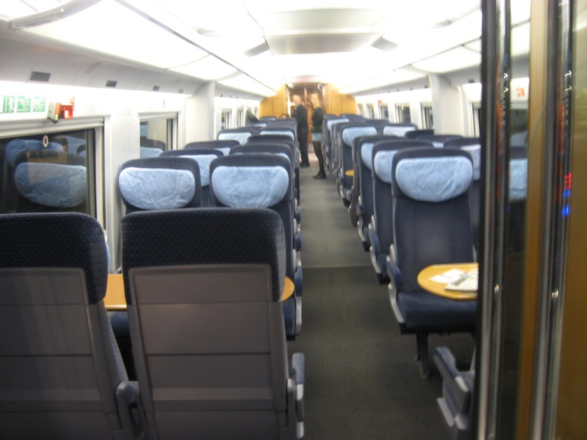 Standard class carriage interior of the ICE.