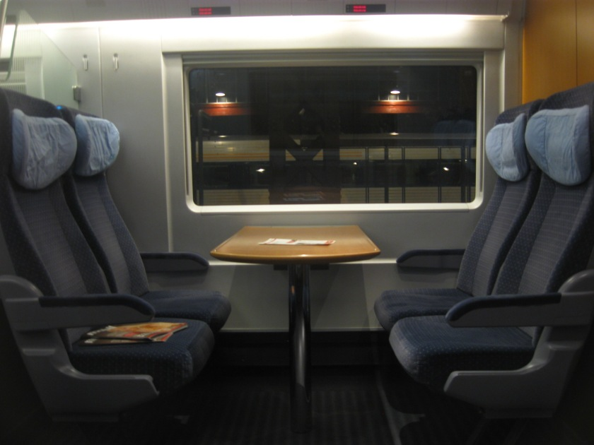 A typical four-seat section inside the ICE train.