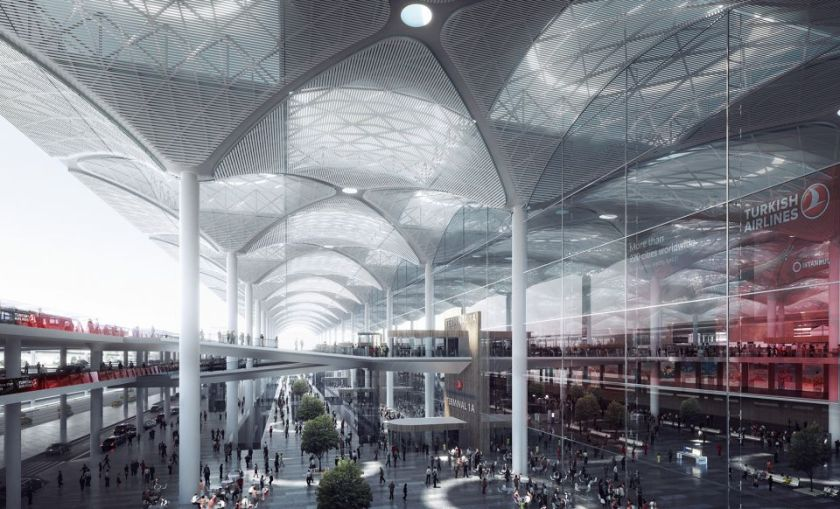 A CGI render of the new airport terminal building at Istanbul. Image:nordicarch