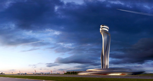 Pininfarina/Aecom's proposed control tower building for Istanbul Grand Airport. Image:dailysabah