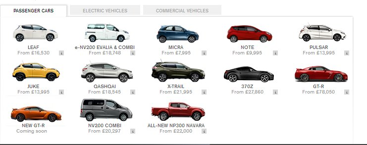 There are a lot there too. Nissan´s UK range includes the Pulsar: Nissan UK