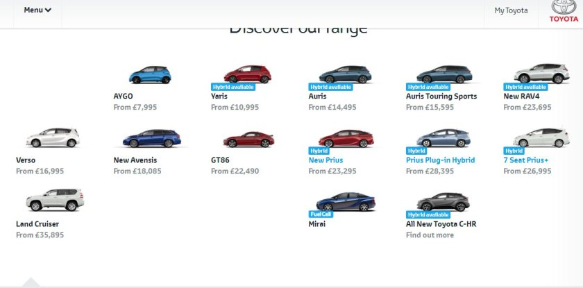 2016 Toyota UK range of cars. There are a lot there, aren´t there?: Toyota UK