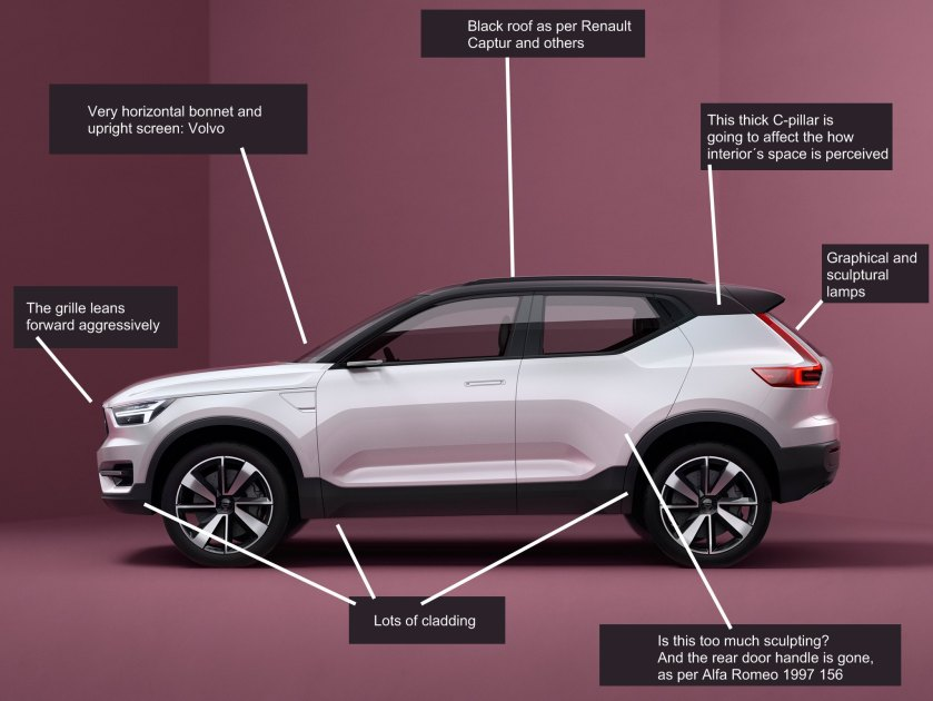 2016 Volvo V40 concept car profile marked up