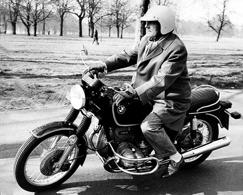 Gentleman Biker. Sir Ralph Richardson on BMW