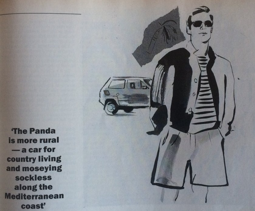 1989 Fiat Panda drawing by David Downton: Autocar
