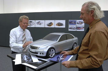 Mercdes design chief, Peter Pfeiffer and Carl Heinz Bauer with a W204 styling model. Image: carbodydesign