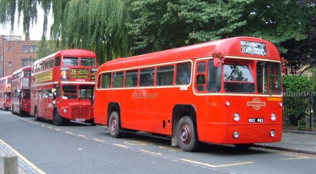 Production Routemasters and a single decker RF, another Scott design