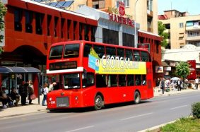 Not in competition - Chinese Yutong's tribute to the Routemaster for the streets of Skopje - image : focustransport.org