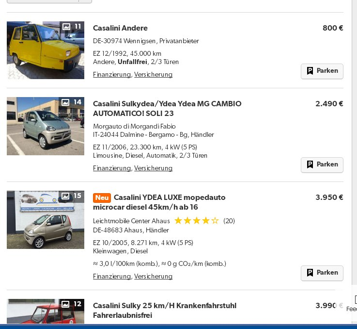 Cassalini cars for sale at Mobile.de