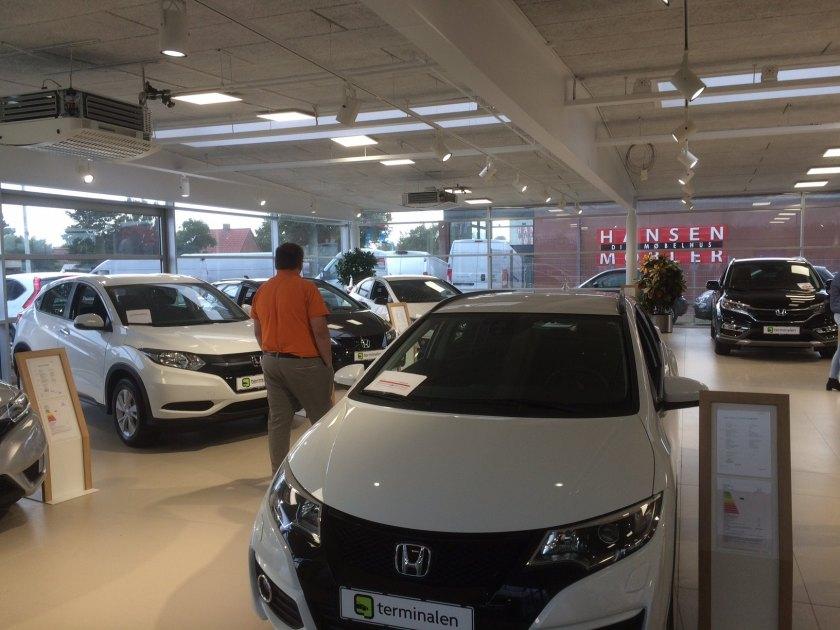 A Honda showroom, yesterday in Denmark.
