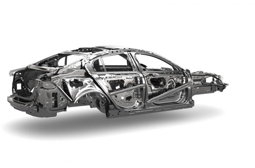 The XE's aluminium body structure. Image: Autocar