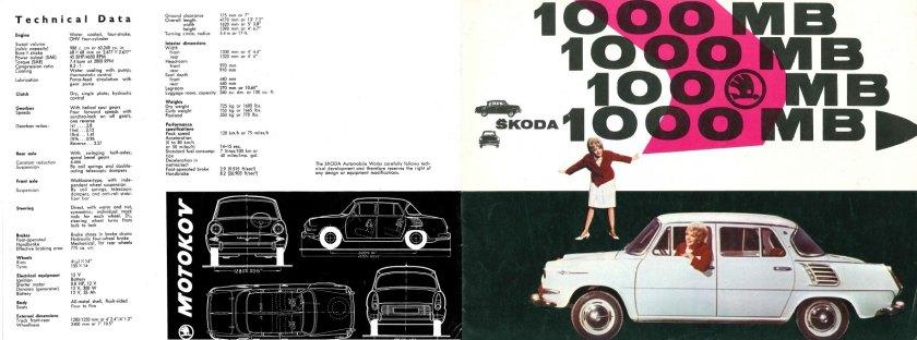 1964 Skoda 1000MB brochure front covers.
