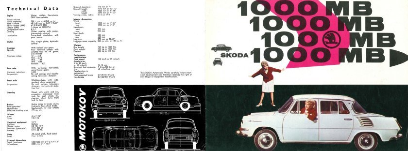 1964 Skoda 1000MB brochure front covers.