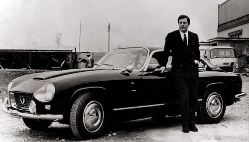 Film Actor Mastroianni with his 1964 Flaminia Supersport. Image: Coachbuild.com