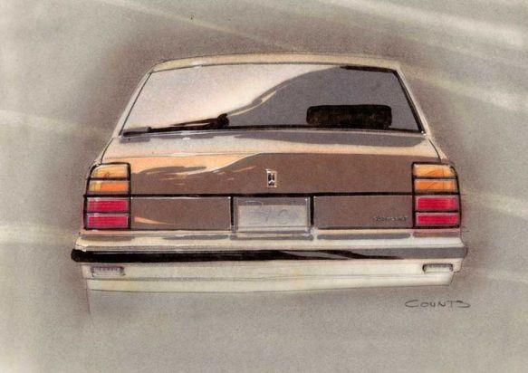 Undated 1980s sketch for Oldsmobile: pinterest