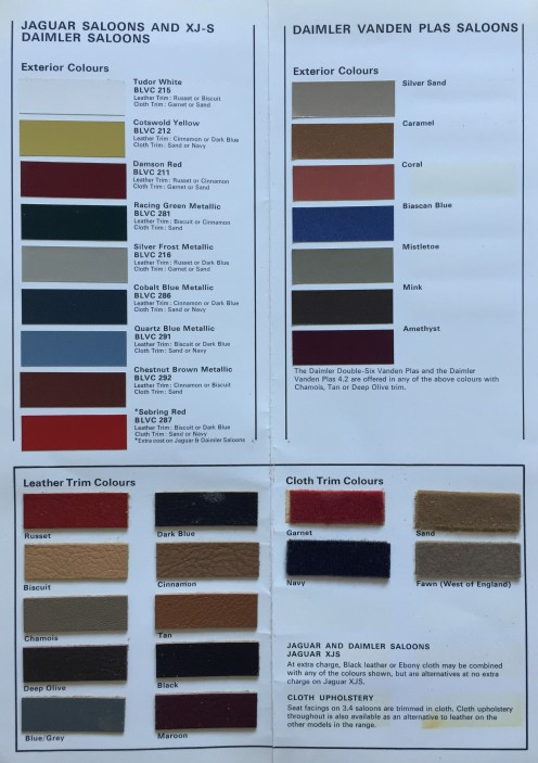 Jaguar colour guide