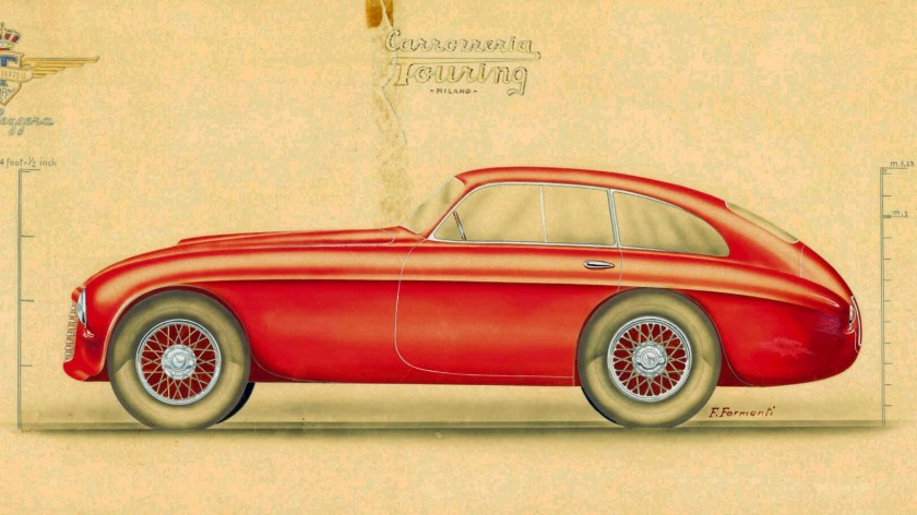 1948 Ferrari scale drawing: The signature of Federico Formenti is clearly visible (c. Petrolicious)