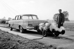 Early crash tests using a rocket motor. (c) Mercedes-Benz