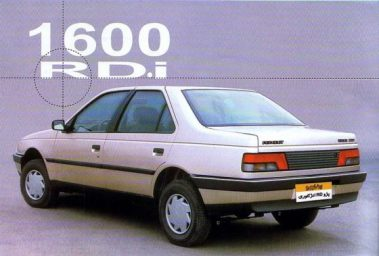 Peugeot 405RD. Its rear leaf springs can clearly be seen. (c) Pedal.ir