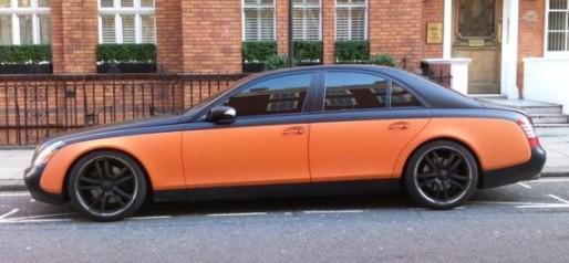 Maybach 57 in satin black over orange - lovely!